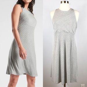 EUC✨ATHLETA Santorini Gray White Mix Stripe DressM